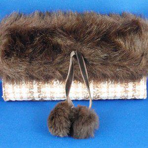 Vintage Tweed Fabric Wallet / Clutch Faux Fur Trim